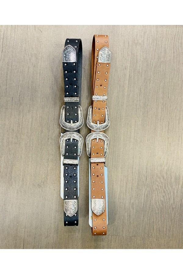 Cinturon doble hebilla tachitas