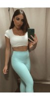 Pantalon leggins brocado azul turquesa